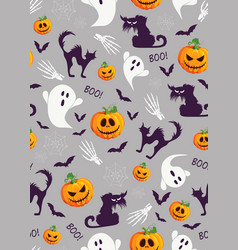 Halloween pumpkin and ghost seamless pattern on vector