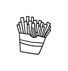 hand drawn french fries vector image