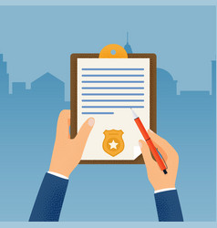 Hand holding clipboard with checklist and pen for vector