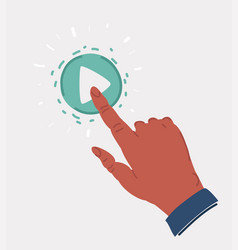 Hand on play icon vector