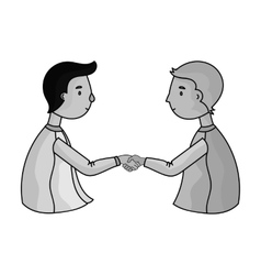 Handshaking of businessmen icon in monochrome vector