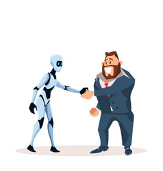 Happy business man in suit and robot shake hand vector