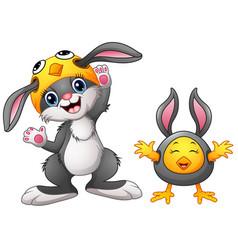 Happy rabbit and chicken cartoon in costume vector