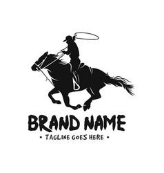 horse and cowboy logo vector image