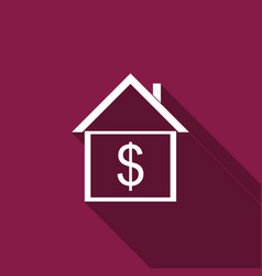 house with dollar icon isolated with long shadow vector image