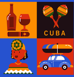 Icon set of cuba havana vector