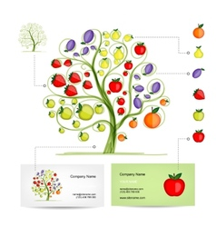 Infographic tree with fruits Business card vector image