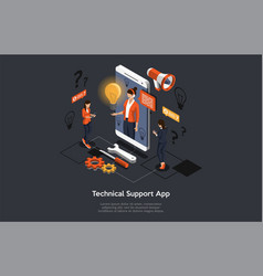 Isometric concept of mobile application technical vector