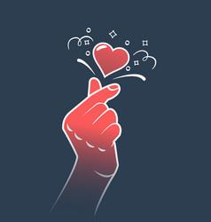 korea finger heart symbol vector image