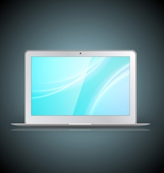 Light laptop with wallpaper isolated on dark vector