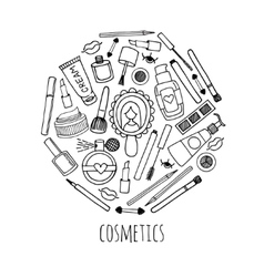 Make up and cosmetics in a circle design vector image vector image