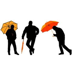Man with umbrella vector
