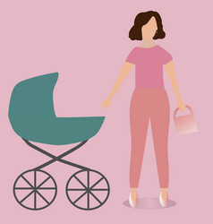 Maternity leave young mother with a stroller vector