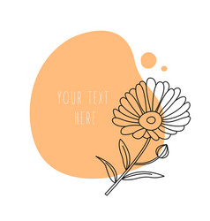 Minimal calendula flower on abstract background vector