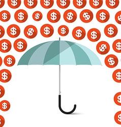Money - Dollar Coins Rain and Umbrella vector image