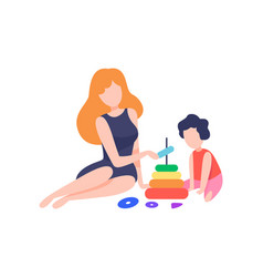 Mother playing pyramid toy with her son mom and vector