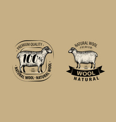 Natural wool yarn logo or label knitwork vector