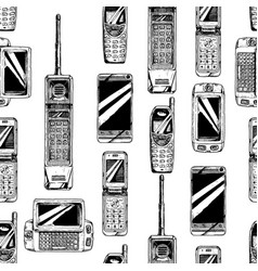 pattern with mobile phone vector image