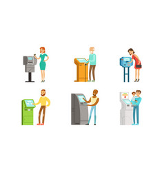 people characters using payment terminal vector image
