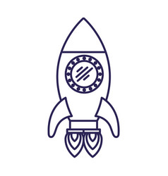 purple line contour of space rocket with two vector image