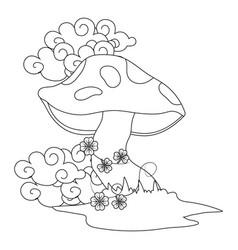 raw mushroom cartoon vector image
