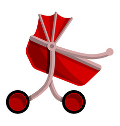 red baby pram icon cartoon style vector image