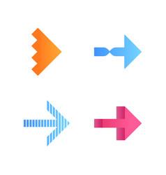 Rightward arrows flat design long shadow color vector