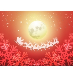 Santa driving his sleigh on a moonlit night vector image