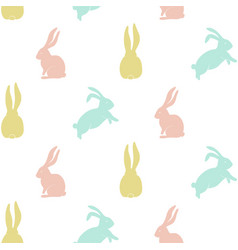 seamless pattern with cute bunny silhouette vector image