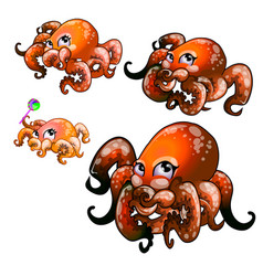 Set cute red octopus isolated on white vector