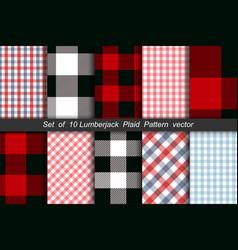 Set of 10 lumberjack plaid pattern vector