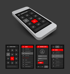 Set of black and red mobile ui vector