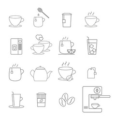 set of coffee and tea cups icons vector image