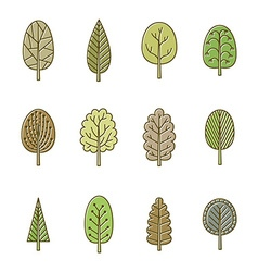 Set of trees in spring soft colors vector image