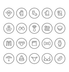 set round line icons accessories vector image