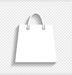 shopping bag white icon with vector image