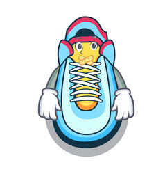 Silent sneaker mascot cartoon style vector