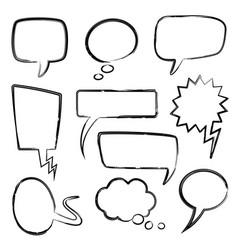 Sketch speech bubbles doodle message bubble vector