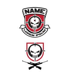 sniper skull logo set emblem vector image