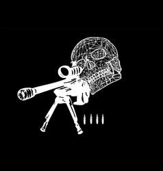 Sniper skull vector