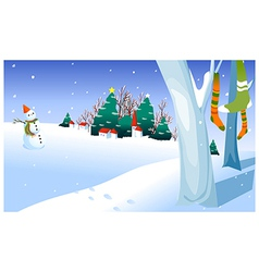 Snowman in yard vector image