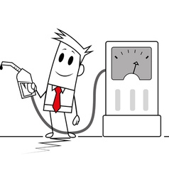 Square guy holding fuel pump vector