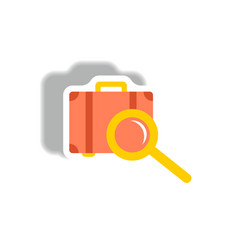Stylish icon in paper sticker style baggage vector