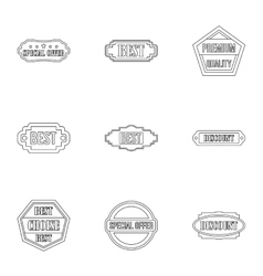 Tag icons set outline style vector