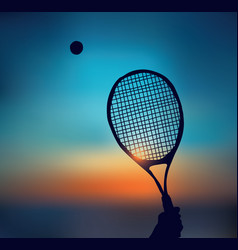 tennis silhouette of hand with racket in sky vector image