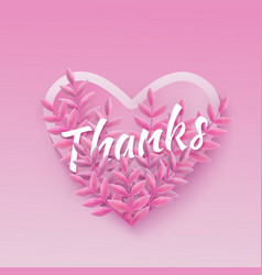 thanks word pink natural vector image