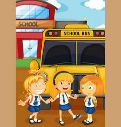 Three students in uniform by the schoolbus vector