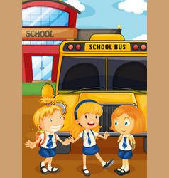 Three students in uniform schoolbus vector