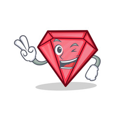 two finger diamond character cartoon style vector image