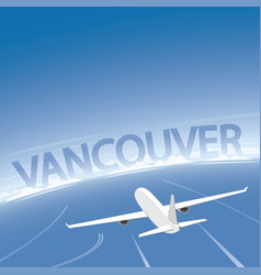 Vancouver skyline flight destination vector